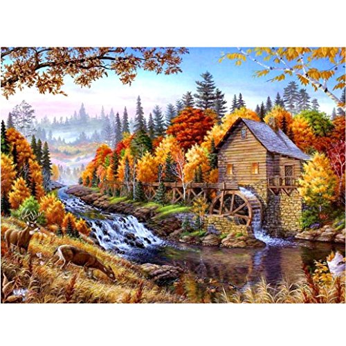 5D Diamond Painting Brook Log Cabin Frame Full Drill Cross Stitch Abstract Wall Art Special Crafts Dye Tie Kit for Adults Home Room Wall Decoration Pictures 12×16 inch (Yellow, 30×40 cm) (Cross Stitch Log Cabin)