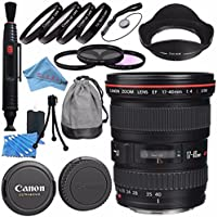 Canon EF 17-40mm f/4L USM Lens 8806A002 + 77mm 3 Piece Filter Kit + 77mm Macro Close Up Kit + Lens Cleaning Kit + Lens Pen Cleaner + Fibercloth Bundle