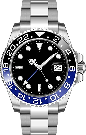 Fanmis GMT Master Sapphire Glass Blue and Black Ceramic Bezel Men's Silver Automatic Watch