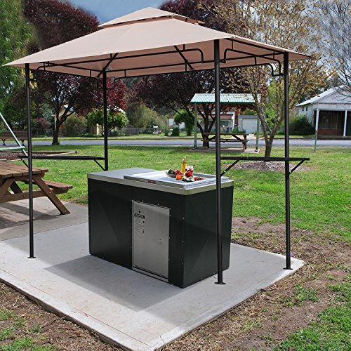 PATIOROMA 8 5'Steel Outdoor Backyard BBQ Grill Gazebo 2-Tier Soft Top Canopy, Beige
