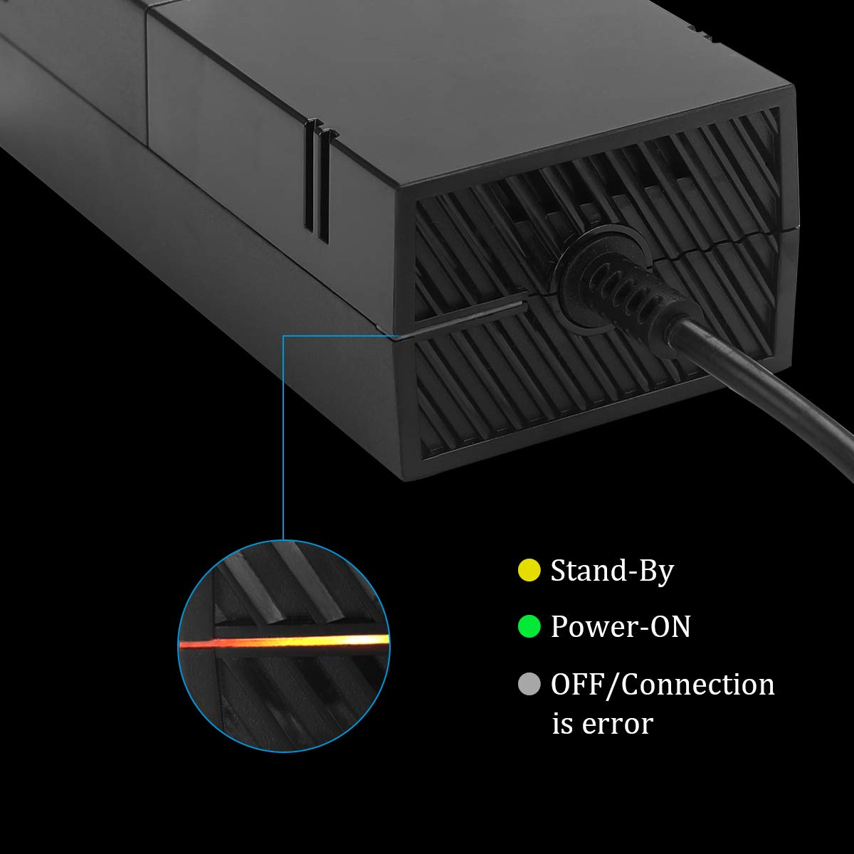 Xbox One Power Supply Brick With Power Cord,Enhance Version AC Adapter Power Supply Charge For Xbox One Console, 100-240V Auto Voltage,Black