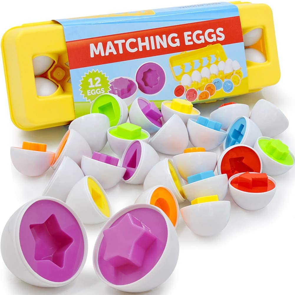 Matching Eggs 12 pcs Set Color /& Shape Recoginition Sorter Puzzle Easter Eggs Montessori Gift for 1 2 3 Years Old Toddlers Educational Color /& Number Recognition Skills Learning Toy Toddler Toys