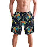 Boho Sea Turtle Tortoise Men's Swim Trunks Quick Dry Beach Board Short Casual Polyester Shorts with Pockets S