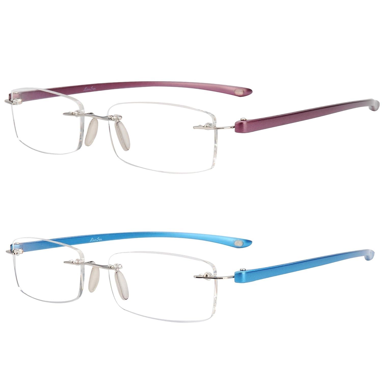 Gray, 4.00 LianSan Rimless reading glasses men fashion womens frameless readers glasses reading eyeglasses 5017