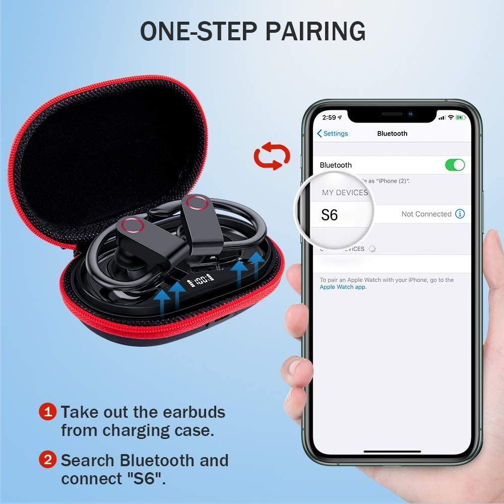 LED Energy Indicator Noise canceling for Running//Workout//Gym in-Ear Headphones Waterproof Sport Bluetooth 5.0 Earphones with Mic//Volume Control Over Ear Earhook Wireless Earbuds with Charging Case