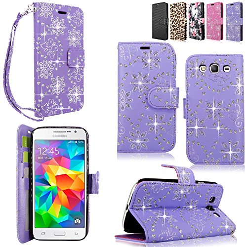 Galaxy Grand Prime Case - Cellularvilla Pu Leather Wallet Flip Open Pocket ID Card Holder Slots Case Cover Stand with Wrist Strap for Samsung Galaxy Grand Prime SM-G530H G5308W