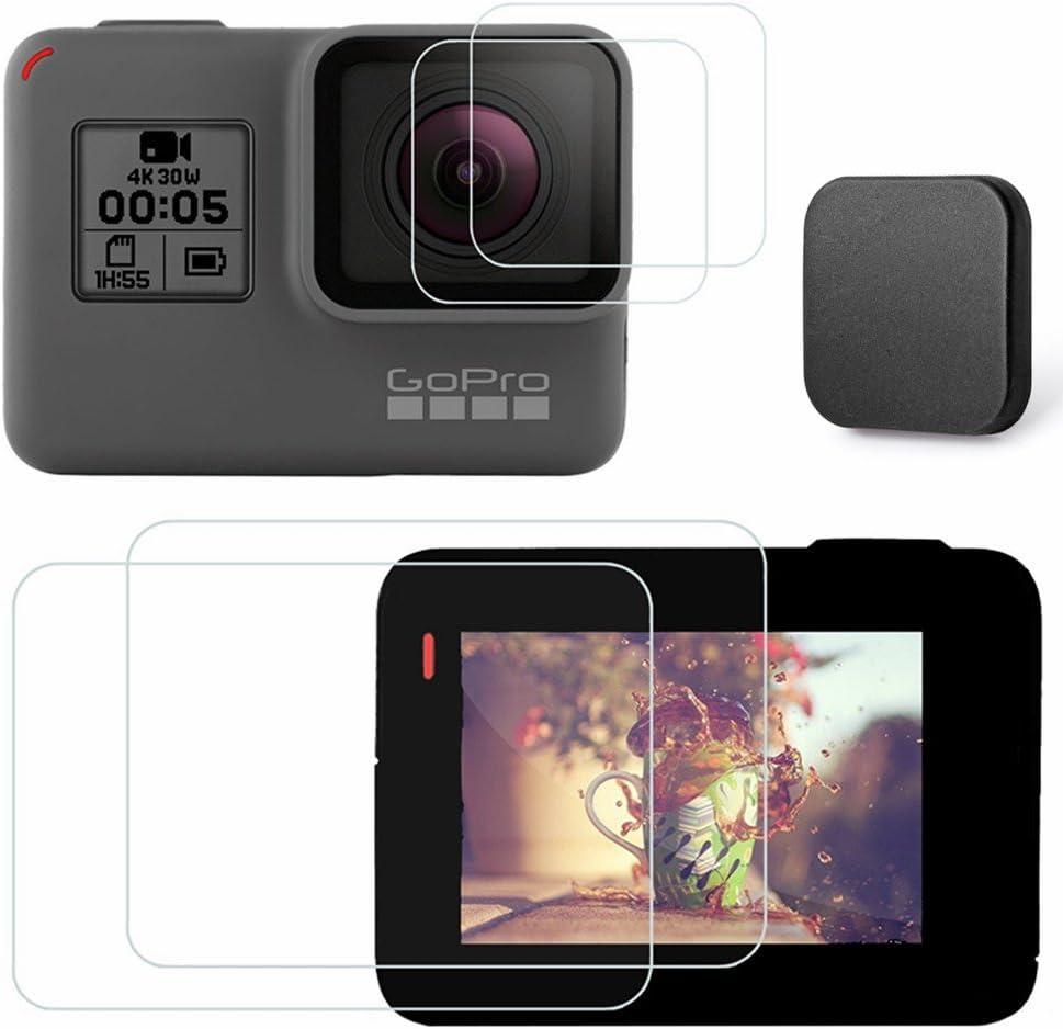 Kimilar 4 PCS GoPro hero 5 Pellicola Protettiva con copriobiettivo protezione dello schermo in vetro temperato e coperchio copriobiettivo per GoPro HERO5 Videocamera