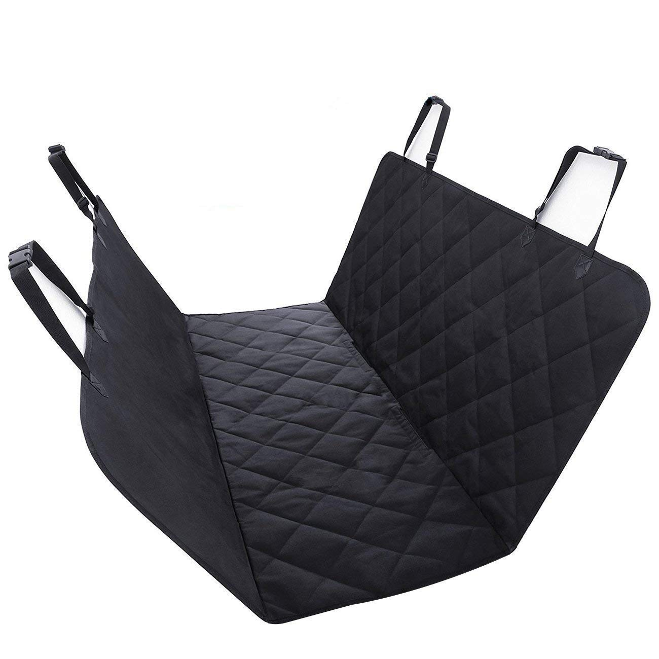 GDZ Dog Seat Cover for Cars Waterproof Nonslip Pad With Seat Anchors, Hammock Style, Pet Car Seat Predector  Universal Fit, Black
