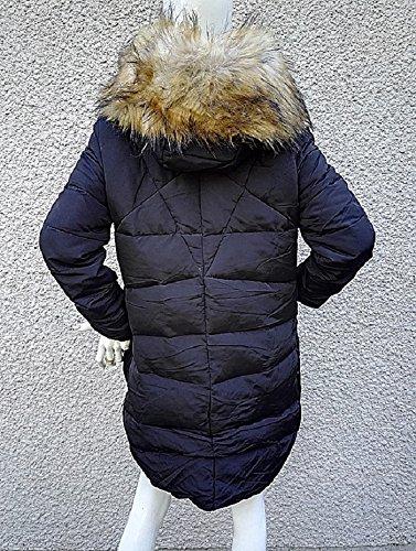 fashionfolie Damen Daunenjacke Mantel schwarz schwarz