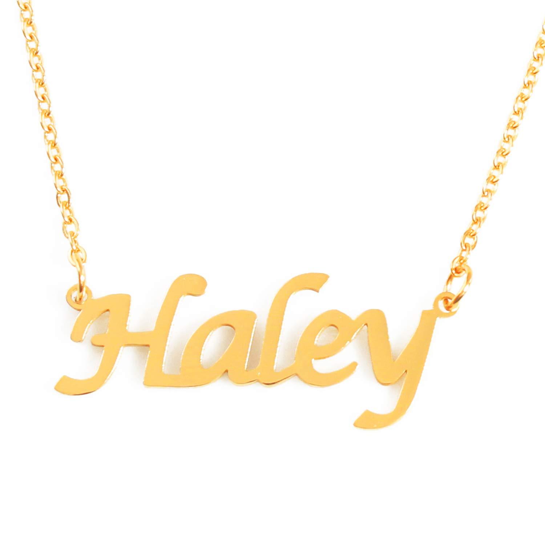 032f35cb79918 Amazon.com: Kigu Haley Custom Name Necklace Personalized - 18ct Gold ...