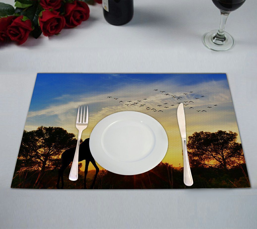 Custom Beautiful Nature Landscape Placemat, Animal Giraffe in the African Sunset Table Placemat Food Mat 12x18 Inch,Pack of 2 Pieces.