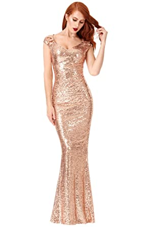 Goddiva Champagne Sweetheart Neckline Sequin Pleated Maxi Formal Prom Party Dress (8-14)