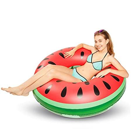 Inflatable Red Fruit Watermelon Pool Floating Summer Swimming Circle Air Mattress Water Toys For Child Adult Kids Beach Party Sports & Entertainment