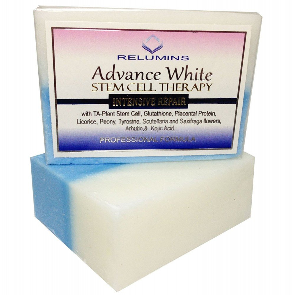 4x Skin Whitening Lightening Relumins Advance Whitening Soap With Intensive Skin Repair & Stem Cell Therapy + 1 YouLookLight phone/ screen cleaning cloth