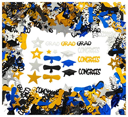- Graduation Confetti - 2 oz. Pack of Graduation-Themed Decor and Party Supply for Senior Parties and Events – Class of 2019 Decoration, Gold, Black, Silver, Blue