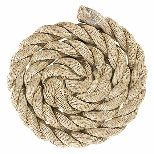 ProManila Rope (1 1/2 Inch, 50 Feet) Tan Twisted 3 Strand Polypro Cord - Marine, Nautical, DIY Projects, Tie Downs