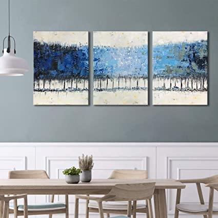 Bedroom Blue Wall Art Framed Modern 3-Piece Gallery-Wrapped Bathroom Tree  Wall Decor \