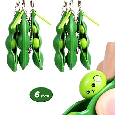 6 Pcs Squeeze Bean Fidget Toy, Extrusion Bean Keychain Keyring for Children and Adults Release Stress and Anxiety, OCD, ADD, ADHD, Improve Focus, Skin Picking, Nail Biting: Office Products