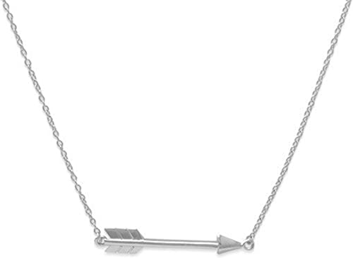 Womens 925 Sterling Silver Rhodium Plated Arrow Heart Necklace