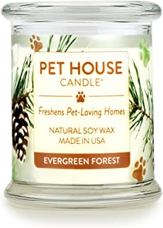 product image for One Fur All 100% Natural Soy Wax Candle, 20 Fragrances - Pet Odor Eliminator, Up to 60 Hours Burn Time, Non-Toxic, Eco-Friendly Reusable Glass Jar Scented Candles – Pet House Candle, Evergreen Forest
