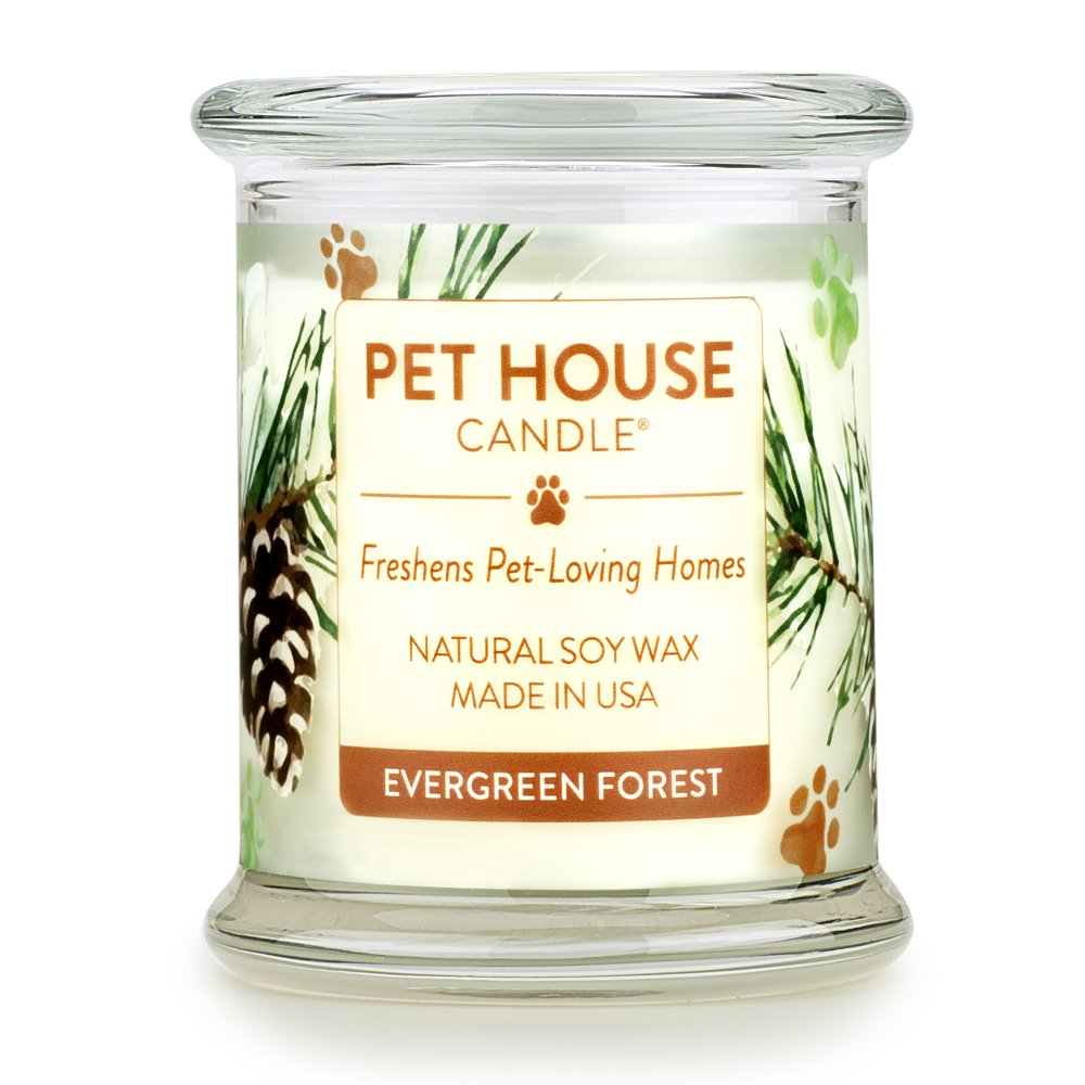 One Fur All 100% Natural Soy Wax Candle, 20 Fragrances - Pet Odor Eliminator, Up To 60 Hours Burn Time, Non-toxic, Eco-Friendly Reusable Glass Jar Scented Candles - Pet House Candle, Evergreen Forest