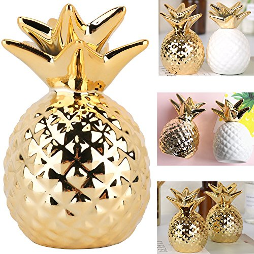 Pineapple Coin Piggy Bank Ceramic Pineapples Shape Save Money Cans Decorative Money Box for Home Bedroom Party Decorations Valentine's Day Kid's Birthday Gifts (Gold) (Home Decoratives Ceramics)