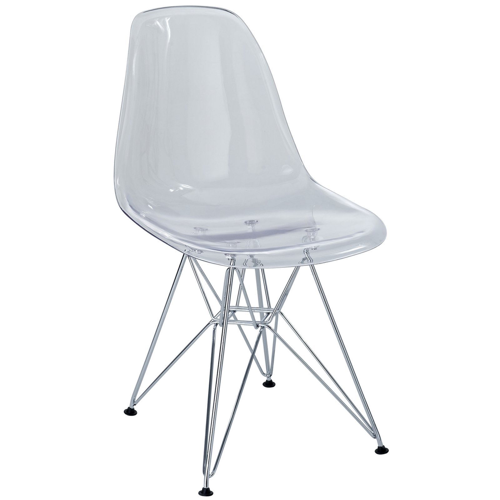 Modway Plastic Side Chair in Clear with Wire Base by Modway (Image #1)