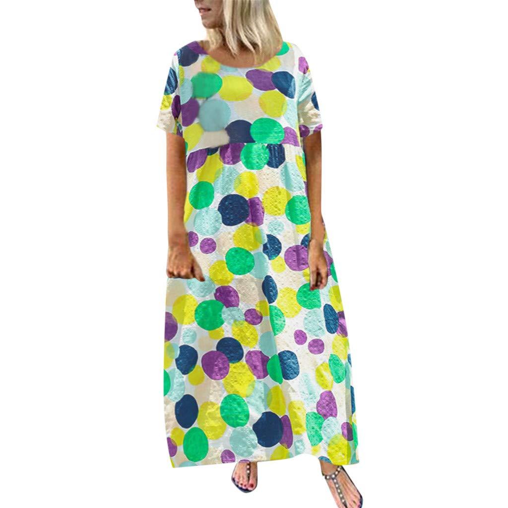 Yellsong Women Cotton Linen Round Neck Short Sleeve Loose Dot Print Long Dress Women Cotton Linen Round Neck Short Sleeve Loose Dot Print Long Dress