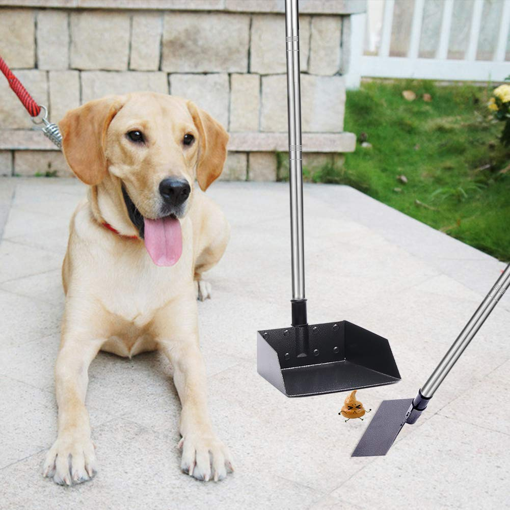 3 Pack Adjustable 57.1 Inches Long Handle Metal Tray Dog Pooper Scooper Set No Bending Clean Up for Large and Small Dog - Bonus 2 bags and hold bag Rake and Spade Poop Scoop for Waste Removal