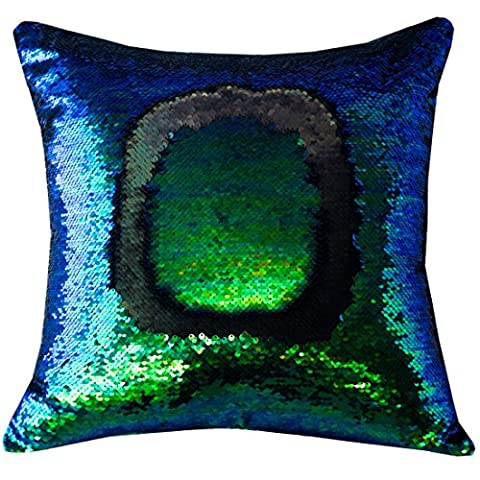 Pidada Reversible Sequins Mermaid Pillow Cases Square Decorative for Sofa Bedroom Home Decor 16x16 (Symphony Green and - Green Bay Packers Jersey Comforter