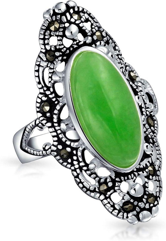 Antiguo Oval Verde Jade Teñido Armor Anillo Largo Filigrana Para Mujer Anillo De Plata Esterlina 925 Marcasita