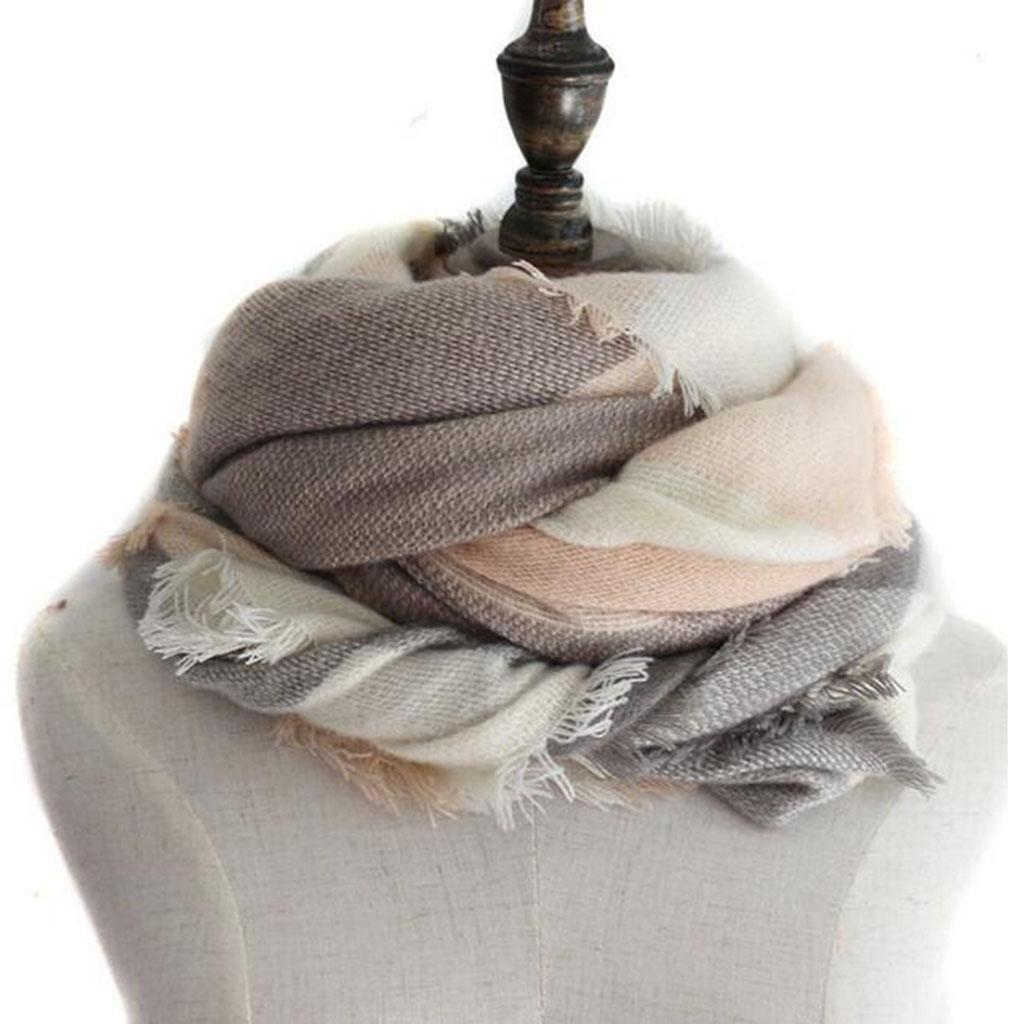 Sra Moda bufanda Mantente caliente Moda Frío chal Collar Uso dual
