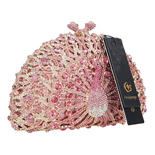 Glitter Black Bag For Evening Girls Crystal Bonjanvye Pink Clutch Peacock BwnxUBqdS