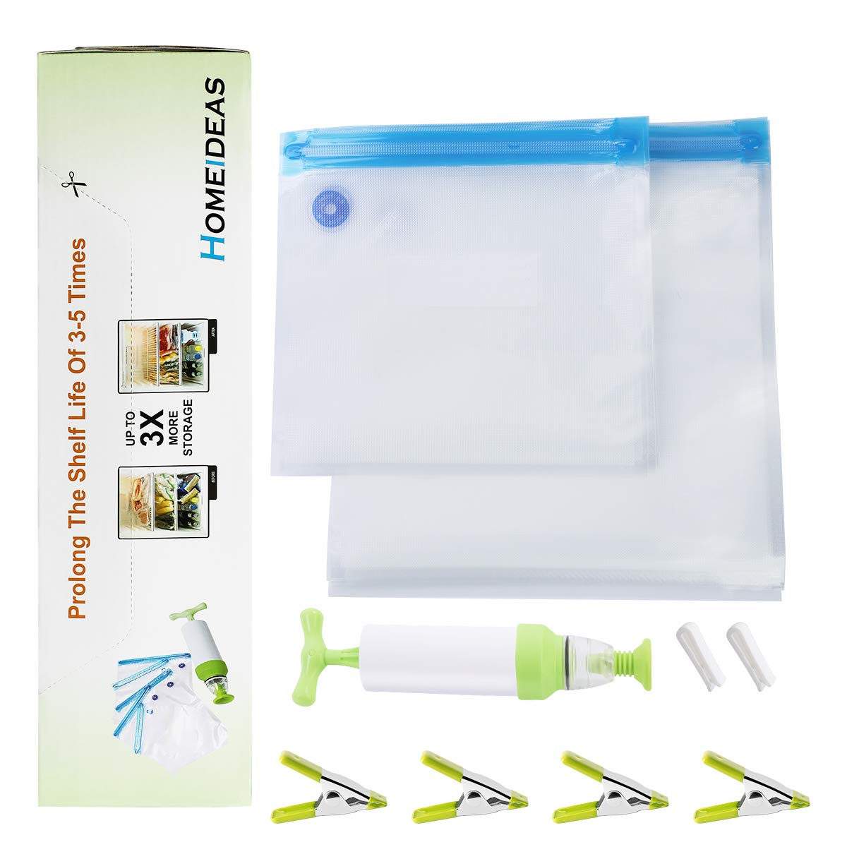 HOMEIDEAS 38 PCS Sous Vide Bags Kit Set For Anova Cookers - 30 Reusable BPA Free Food Vacuum Sealer Bags,1 Hand Pump, 4 Bag Sealing Clips and 3 Sous Vide Clips, Easy to Use, Practical for Food Storage