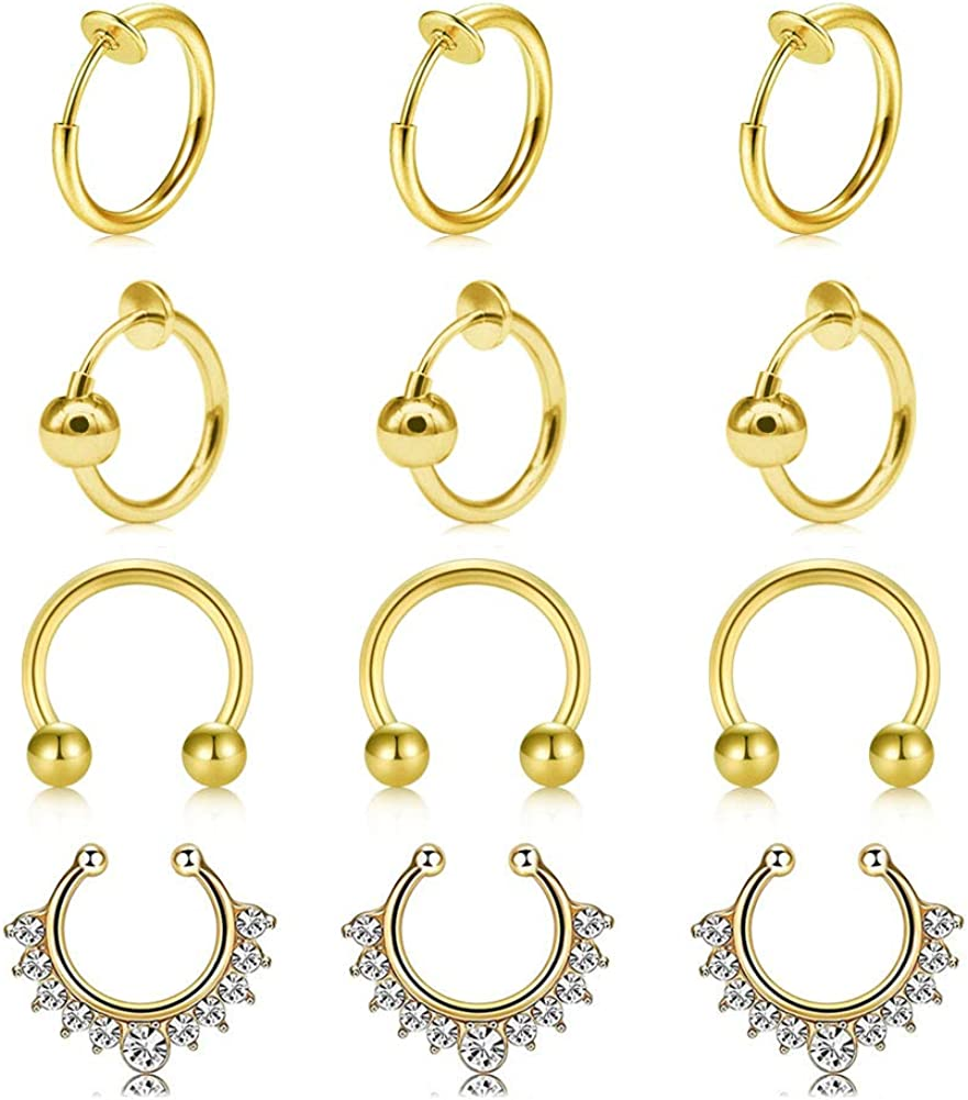 vcmart Fake Nose Rings Hoop 10mm Stainless Steel Faux Fake Lip Ear Nose Septum Ring Non-Pierced Clip On Nose Ear Rings Piercing Jewelry