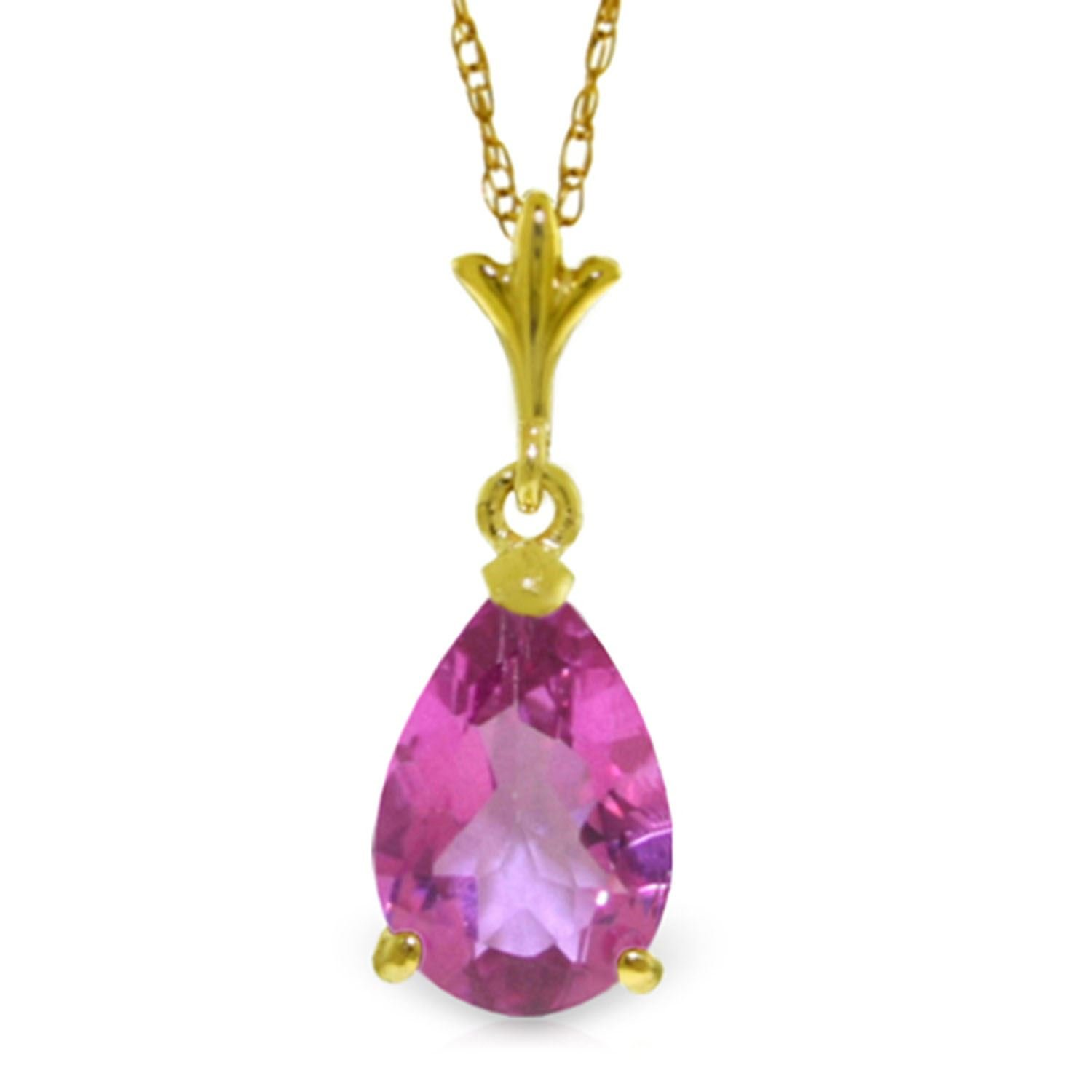ALARRI 1.5 Carat 14K Solid Gold Chanting Love Pink Topaz Necklace with 18 Inch Chain Length