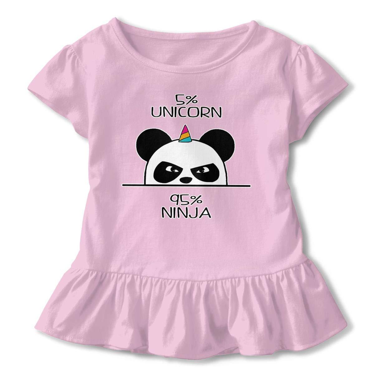Unicorn Ninja Panda Toddler Baby Girl Ruffle Short Sleeve T-Shirt Comfortable Cotton T Shirts