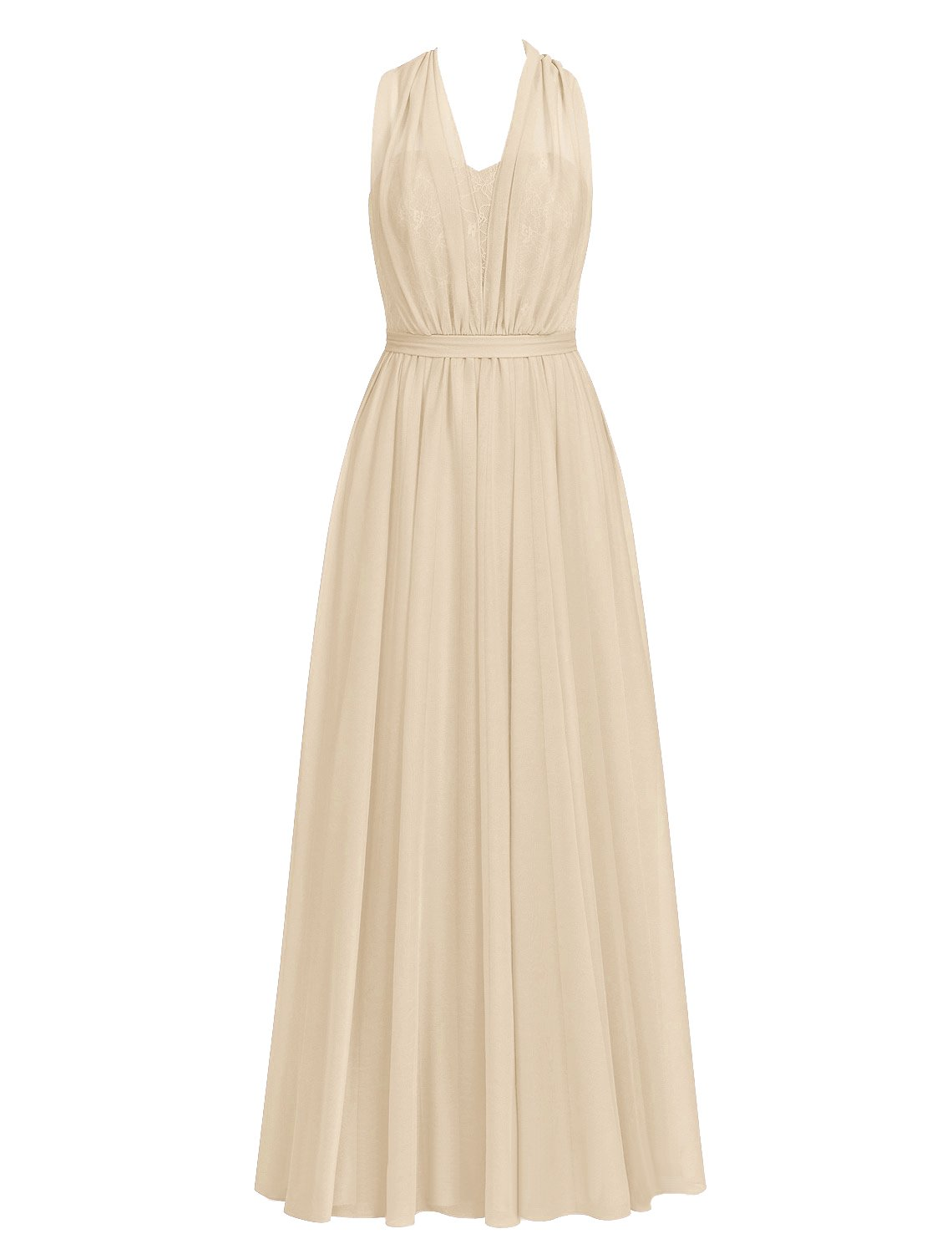 Cdress Bridesmaid Dresses Long Chiffon Prom Dress Halter Convertible Lace Evening Gowns Champagne US 18W