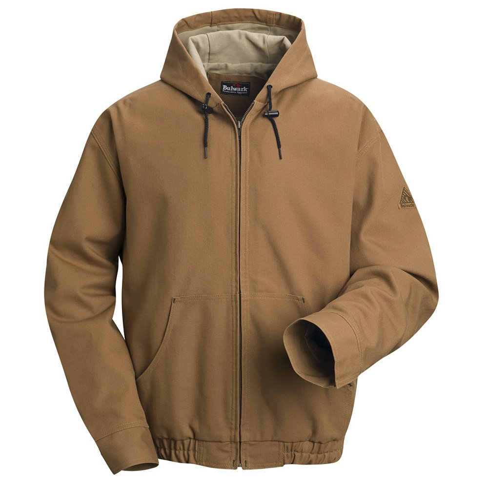 Bulwark Flame Resistant 11.5 oz Cotton/Nylon Excel FR ComforTouch Long Brown Duck Hooded Jacket with Attached Three-Piece Hood with Drawstring and Toggles, Brown Duck, 2X-Large