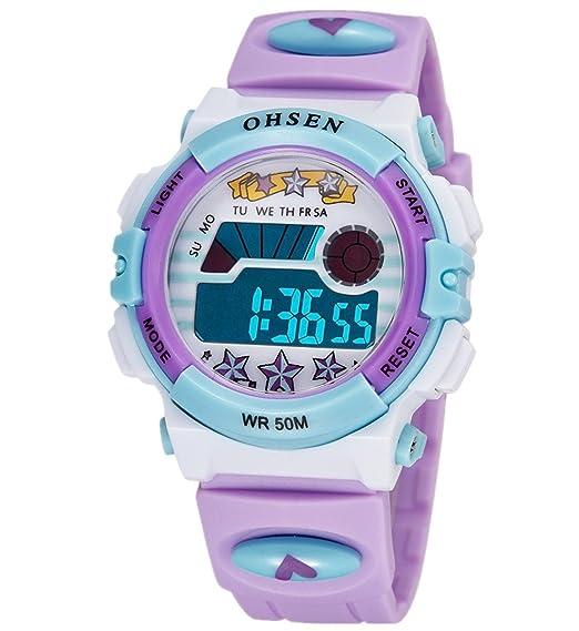 b6b01d31ffc6 OHSEN Infantil Reloj de pulsera Bonito Colorido Niños Niñas Digital Luz  fondo reloj Resistente al agua 1603 - Morado  Amazon.es  Relojes
