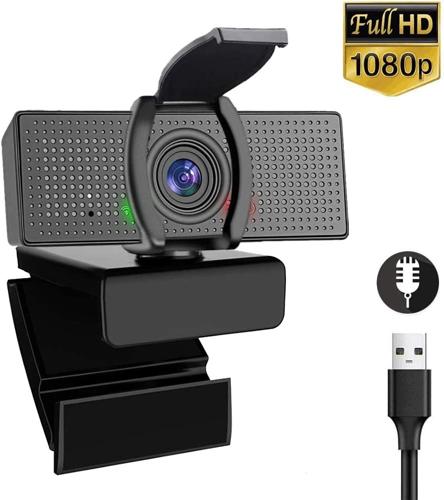 Webcam with Microphone ATOKIT Plug and Play USB Webcam for PC Laptop, 1080P HD Full Gaming Computer Camera with Privacy Cover for Video Calling, Conferencing, 110-Degree Streaming Widescreen Webcam