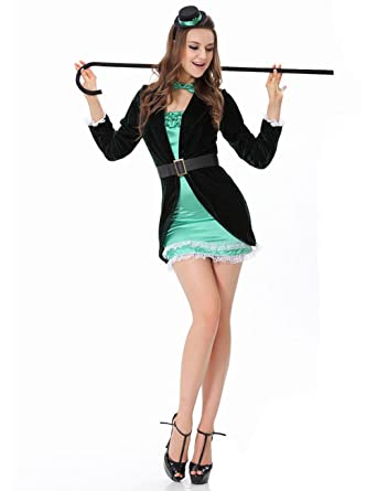 Amazon.com FASHION LOVER Womenu0027s Fancy Dress Adult Magician Costume Cosplay Black Size M Clothing  sc 1 st  Amazon.com & Amazon.com: FASHION LOVER Womenu0027s Fancy Dress Adult Magician Costume ...