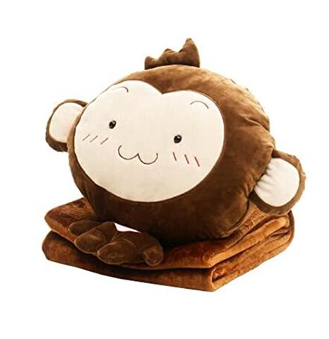 Amazon.com: 3 en 1 manta, Cute Monkey de almohada ...
