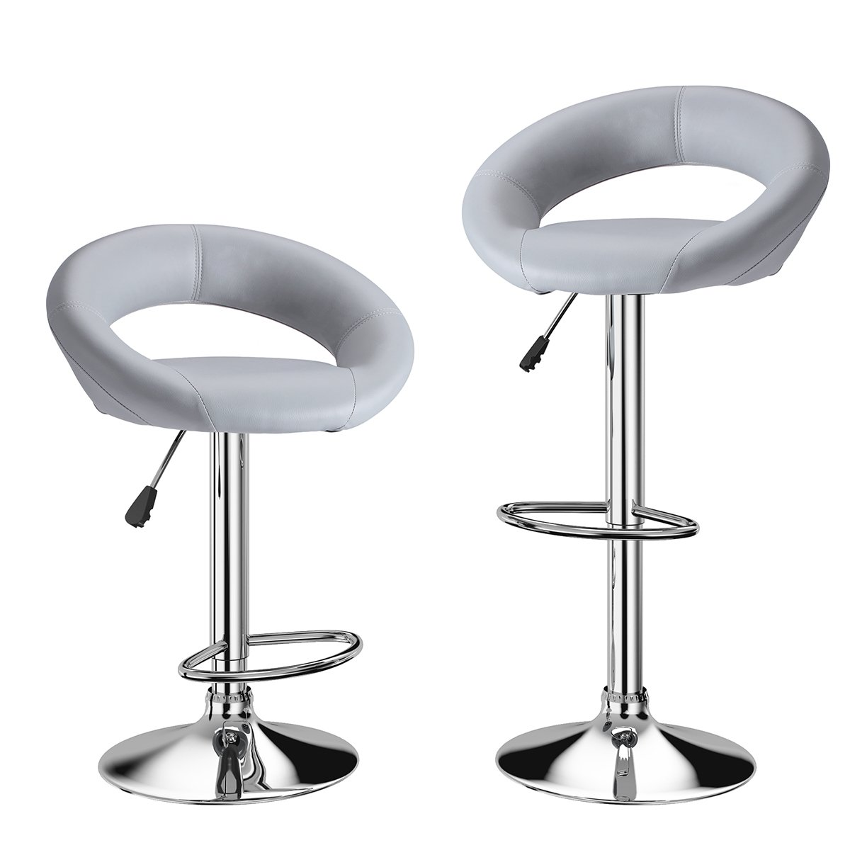 LANGRIA Set of 2 Faux Leather Bar Stools with Low Crescent Backrest Chrome Footrest and Base, 360 Degree Swivel Adjustable Height Max. 120kg for Counter Bar Pub and Kitchen (2x, Gray)