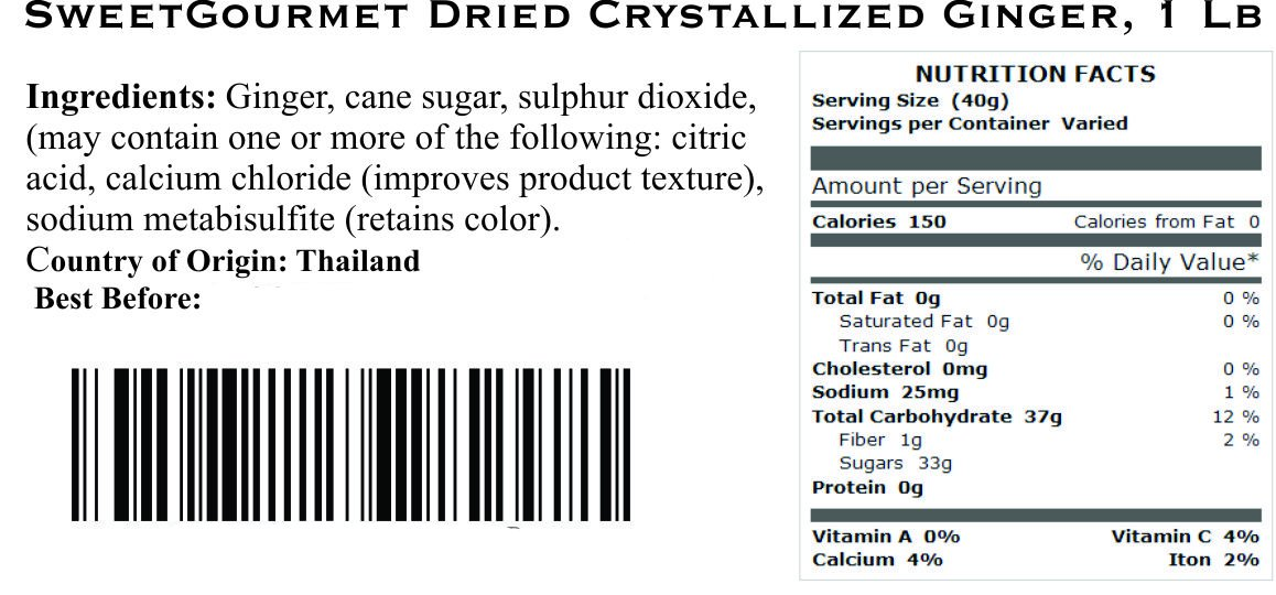 SweetGourmet Dried Crystallized Ginger, 16 Oz
