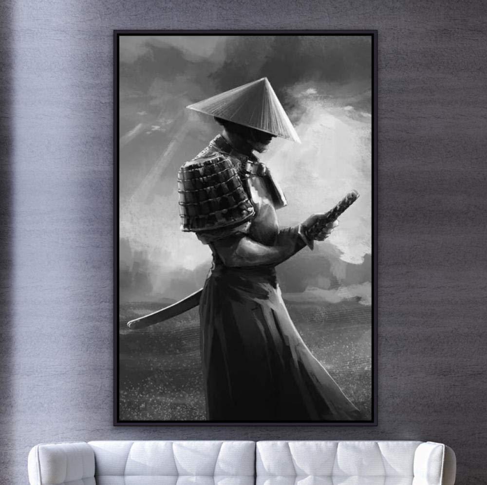 FUYUHAN Poster und Drucke Japanischer Samurai , Leinwand Gem/älde Moderne Wandkunst Bilder Abstrakt F/ür Wohnzimmer Dekoration , Vintage Retro DK68-60x80cm/_No/_Frameed
