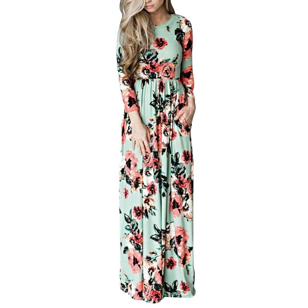 Amazon.com: KaiCran Womens Vestido Longo Boho Bohemian Women Dress Chic Beach Tunic: Clothing
