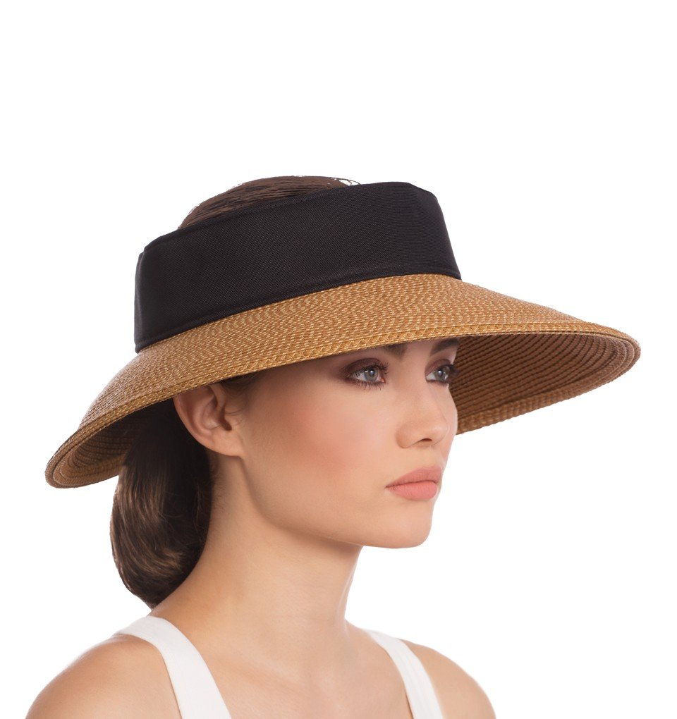 Eric Javits Designer Women's Headwear Hat Visor - Squishee Halo - Natural/Black