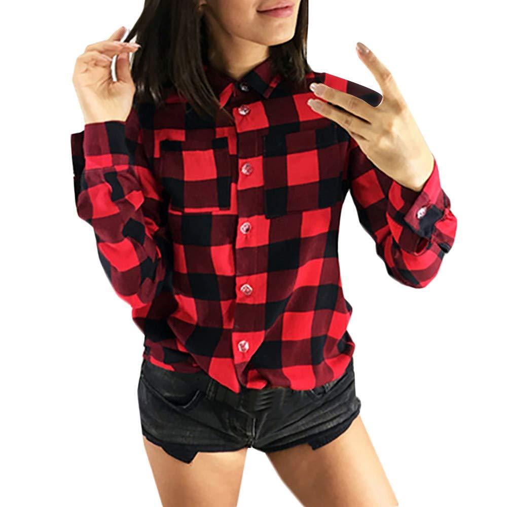 Fashion Women Lapel Collar Plaid Print Long Sleeve Button Cotton Autumn Pocket Shirt Joopee