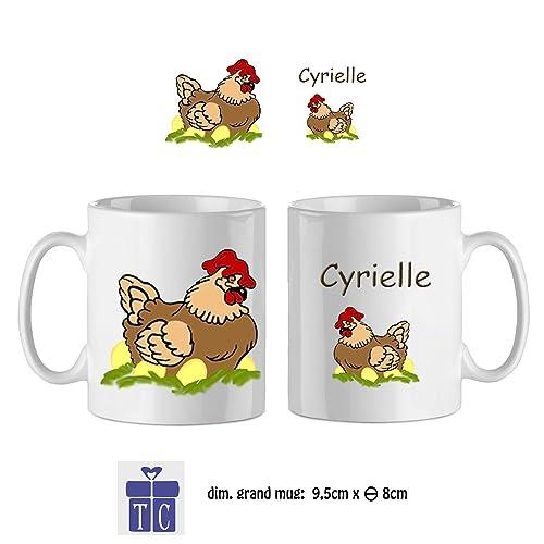Texti-cadeaux-Mug Poule-personnalisé avec un prénom exemple Cyrielle ...
